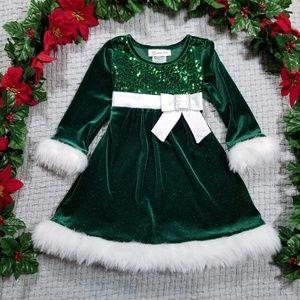 2/$20 Bonnie Jean green sequin velour dress